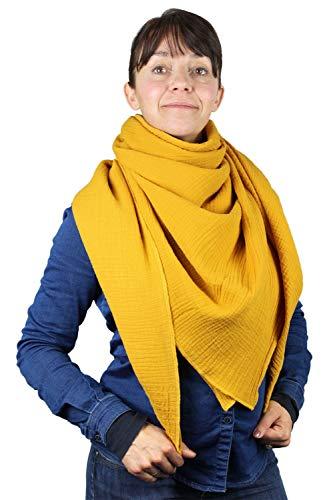 XXL Musselin Tuch Schal 100% feine Baumwolle 130x130 cm Damenhalstuch Halstuch Musselintuch Musselin Damen Herren Männer Frauen Farbe Senf