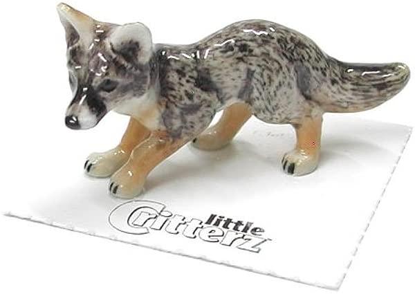 1 X FOX GRAY Climber Pup New Figurine MINIATURE Porcelain LITTLE CRITTERZ LC143