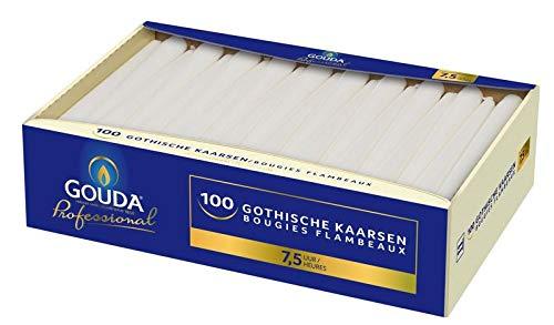 Gouda Gotische Kaars 245/24 Wit, 100 Stuk