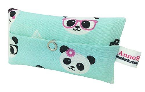 Zakdoeken tas panda turquoise glitter design adventskalender vullen kaboutergeschenk souvenir give away medewerkers Kerstmis