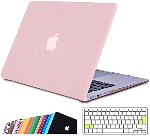 iNeseon MacBook Air 13-inch Case Cover,Ultra Slim Hard Shell Protective Case with Keyboard Cover for 2010-2017 MacBook Air 13 (Model A1466 A1369, Size 32.5 x 22.7cm), Rose Quartz
