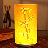 Tischlampe, kreativ, chinesisch, klassisch, geschnitzt, durchbrochen, Schreibtischlampe, dekoratives Pergament, Nachtlicht, USB-Ladekabel mit Fernbedienung bambus