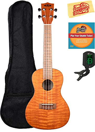 Kala KA-BEM Exotic Mahogany Baritone Ukulele Bundle with Hard Case, Tuner, Austin Bazaar Instructional DVD, and Polishing Cloth