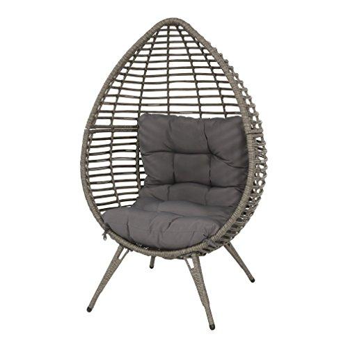 Lesli Living Sessel Stuhl Relax Stuhl Polyrattan Stahlgestell grau 99x91x156cm