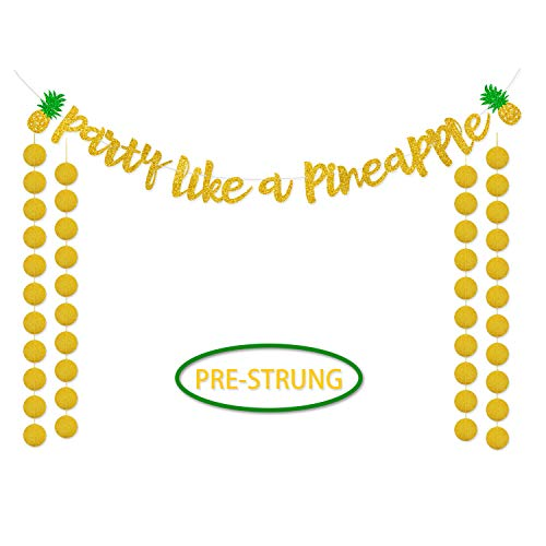 Party Like a Pineapple Banner Hawaii Luau Gold Glitter Bunting Garland Decor Summer Pineapple Themed Party Supplies