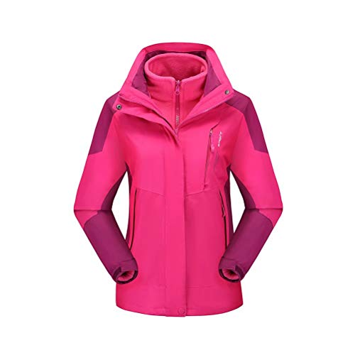 Outdoorjacke Herren 3-in-1 Wasserdicht Winddicht Warmer Funktionsjacke Damen Winterjacke mit Kapuze Rose XL