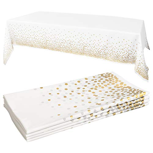 White Plastic Tablecloth - 4 Pack - 54 X 108   Gold Dot Disposable Tablecloths   Plastic Tablecloth   White Tablecloths   Plastic Table Cover   Paper Tablecloths for BBQ, Party, Fine Dining, Wedding