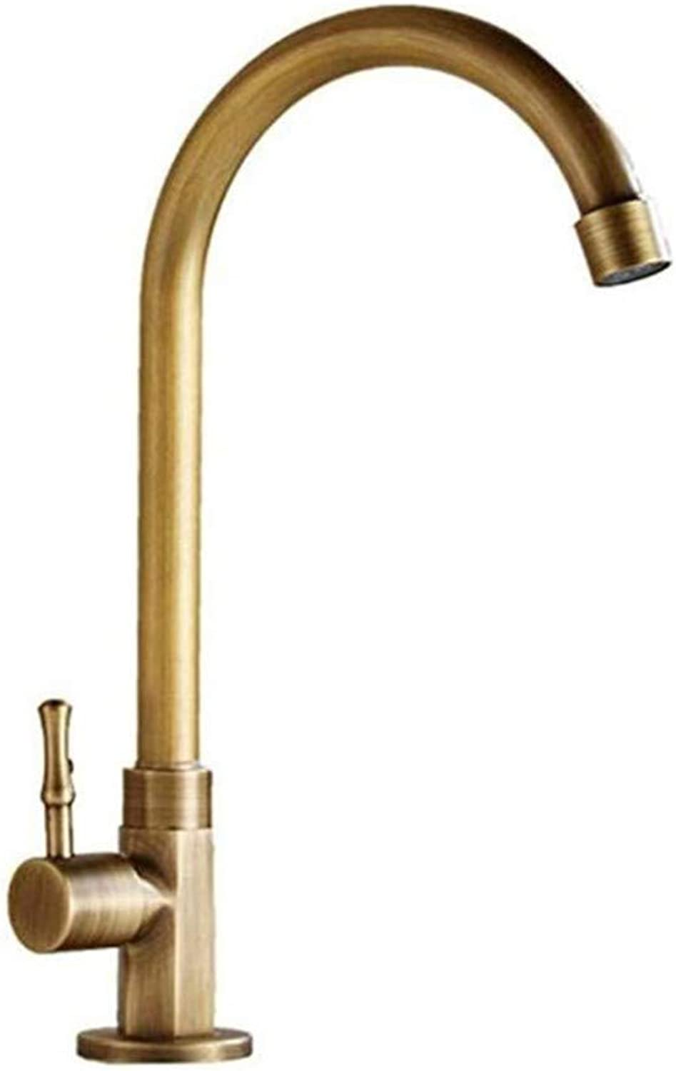 Basin Taps Swivel Spout Faucet Copper Basin Faucet Antique Single Cold Bathroom Sink Brass Taps Vintage Single Hole Single Handle
