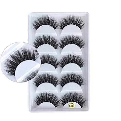 CandyTT 5 Paare 3D Individuelle natürliche Wimpernverlängerung Komfortable Werkzeuge für künstliche Wimpernverlängerung aus weichem Nerz (schwarz10)