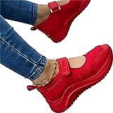 Minetom Sandali Donna Pantofole Estive Tela Plateau Chiuso Scarpe da Lavoro Ciabatte All'Aperto Wedges Velcro Sportivi Sandali A Rosso 37 EU
