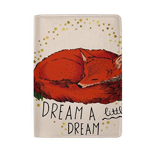 COOSUN Reisepasshülle mit rotem Fuchs-Zitat aus Leder für Reisen, eine Tasche