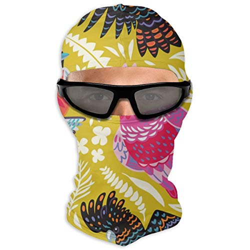 N/Een volledig gezichtsmasker Exotisch patroon met Australische vogels en tropische bladeren kap zonnebrandmasker dubbele laag koud voor mannen en vrouwen