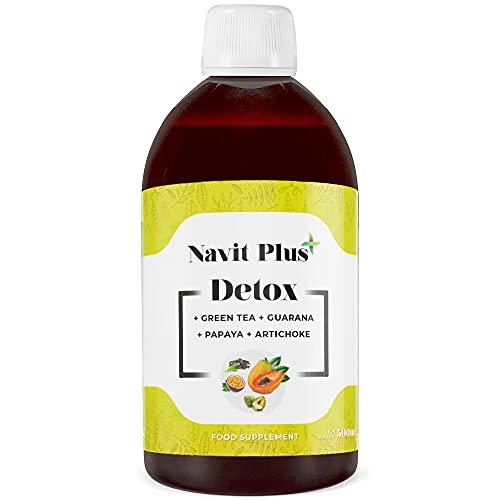 Detox adelgazante potente | Drenante líquido natural 500ml frutos rojos | Limpieza détox y efecto antioxidante | Perdida de volumen y efecto diurético | Te verde, Papaya, Vitamina C. VEGANO