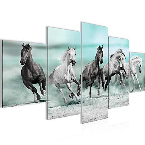 Pferde Bild Vlies Leinwandbild 5 Teilig Tiere Blau Schlafzimmer Flur 014153b