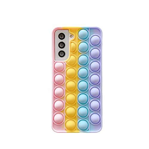 Sensory Fidget Toys Funda, Silicona Arcoiris Pop Fidget Stress Reliver Toy para Autismo Ansiedad Niños Necesidades Relajante Adultos Divertido Push Game - Compatible con Samsung Galaxy S21ul trua