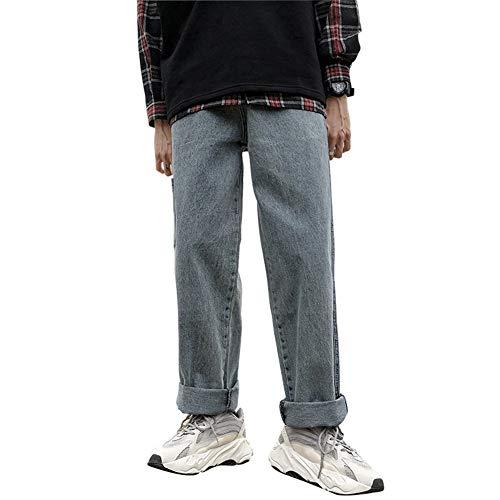 Herren Loose Wide Leg Skateboard Jeans Gerade High Street Hip Hop Lässige Knöchellange Hosen Streetwear Pops Pants,a,34