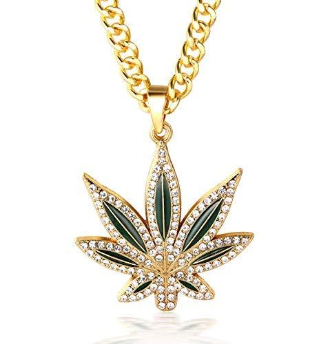 Urbanice Collar Marihuana Colgante Cannabis Hoja Diamantes (Hiphop) (Dorado)