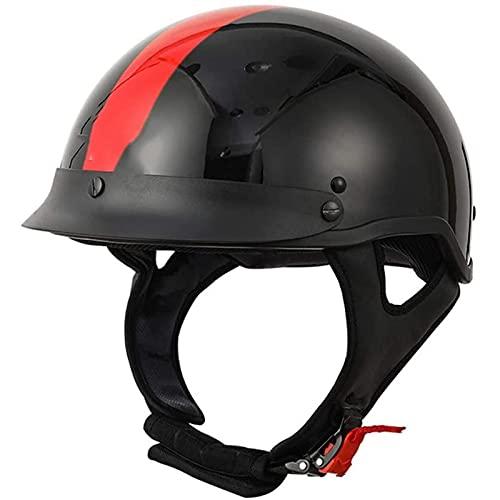 Casco de motocicleta retro de cara abierta para hombres y mujeres, para moto de moto Mofa Crash Moped Cruiser aprobado por la ECE (color: B, tamaño: L/grande (59-60cm)