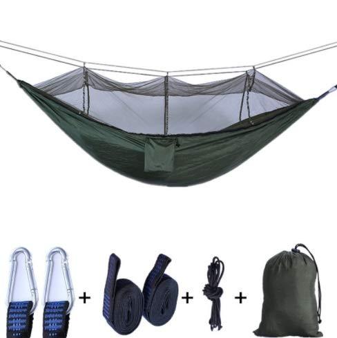 HoEOQeT Moustiquaire hamac extérieur Super léger Parachute en Tissu Double hamac Camping Tente aérienne armée Vert