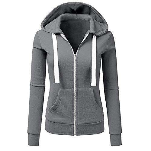 Sweat à Capuche Femme Fille Pur Zippé Sport Pull Hiver Chic Mode Manteau Grande Taille Vêtement Pas Cher Blouse Fashion Chemisier Automne Casual