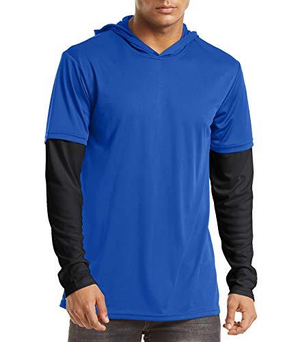 EKLENTSON Herren Runningshirts Joggingshirts Long Sleeve Shirts Funktionsshirts Outdoorshirts, Dunkelblau