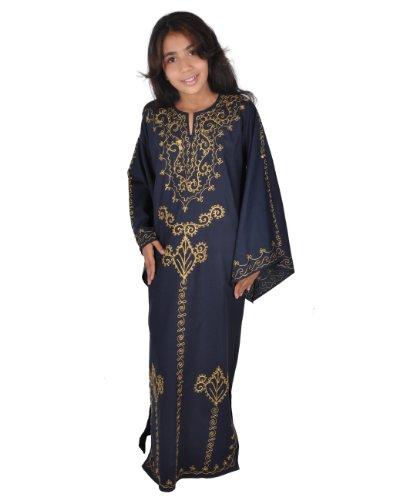 Egypt Bazar Kinder Kaftan im 70er Look, Farbe: Nachtblau/Gold (134)