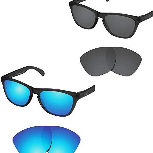 sunglasses restorer Kompatibel Erastzgläser für Oakley Frogskins, Polarisierte Black + Ice