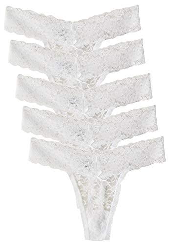 Scothen - String aus Spitze, 5er Pack String Slips Höschen, sexy Dessous, transparent, aus Spitze Gr. 40, weiß