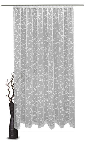 VHG Fertigstore Jacquard Taina, halbtransparent mit Faltenband 1:2,5, Farbe Weiss HxB 145x300 cm