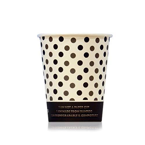 Kompostierbare und biologisch abbaubare Bambus-Kaffeebecher, 227 ml, 50 Stück