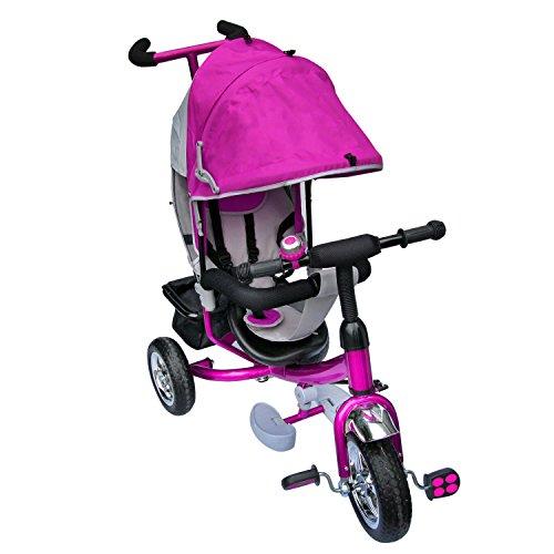 M&G Techno Dreirad mit Dach Lenkstange Kinder 2-5 Jahre Fahrrad Lila metallic