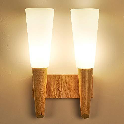 Moddeny Vidrio de la vendimia de la lámpara de pared de madera industrial E27 apliques Con retro sombras pared de madera sólida de la lámpara for la sala Dormitorios cubierta de montaje de noche ilumi