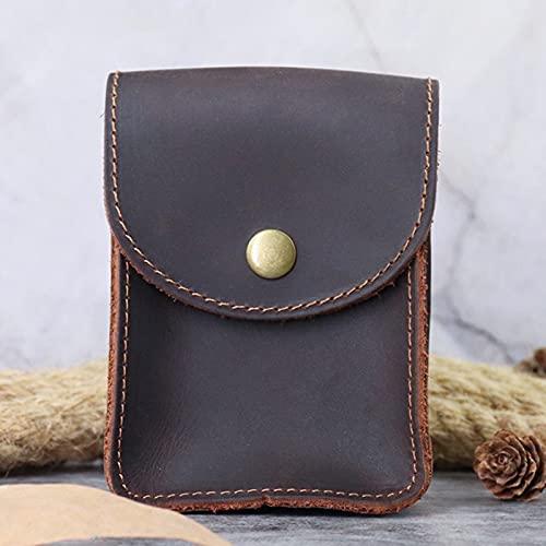 LJC Moda creativa cuero estilo retro loco piel de caballo cigarrillo caso simple negocio estilo puede llevar cinturón o hebilla cintura portátil cigarrillo caso