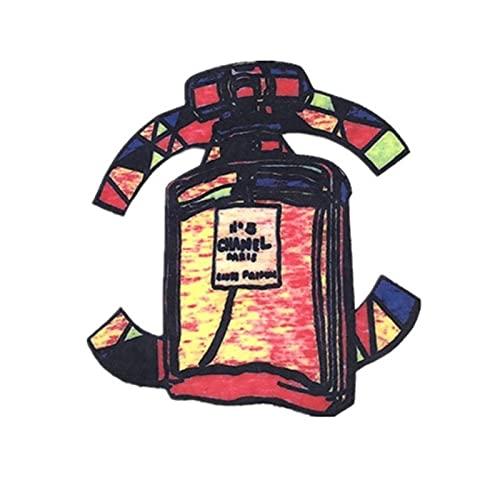 Parches para Ropa Doble Perfume Botella Ropa Ropa de Mochila decoración de Tela (2pcs) 27 * 24cm