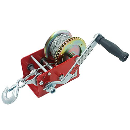 OPENROAD 3200lbs Boat Trailer Winch,RED Manual Winch with Steel Cable,Heavy Duty Handle Crank 2 Gear Winch for ATV/UTV