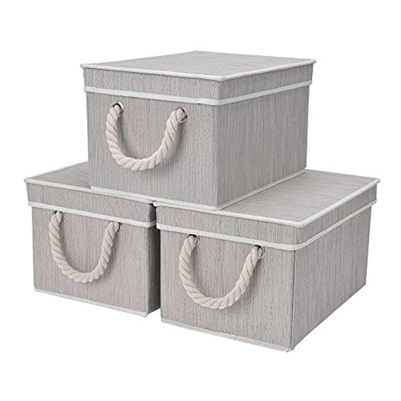 StorageWorks Storage Bins for Shelves, Storage Baskets with Lid and Cotton Rope Handles, Mixture Gray, Bamboo Fabric, Large, 3-Pack