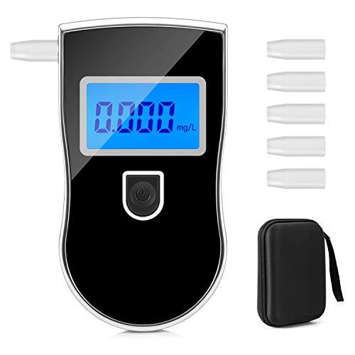 yipin Etilometro Portatile Digitale Alcool Test Professionale Breath Analyzer incluir 5 Boccagli Alcool Tester Digitale con Schermo LED Display, Nero