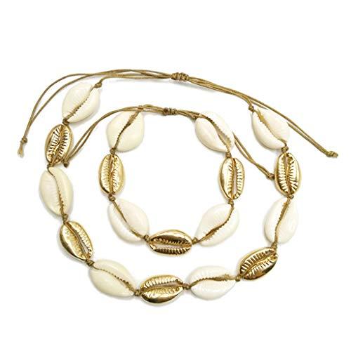 WOWOWO 2 unids/Set Collar de Concha Conchas de aleación Natural Oro Plata Mujeres Dama Regalos joyería Ajustable Playa Bohemia Estilo Bohemio decoración de Fiesta étnica