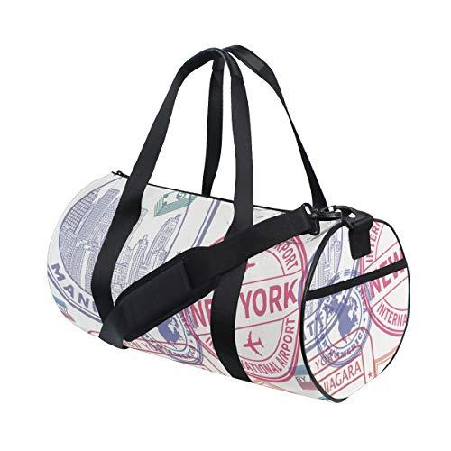 PONIKUCY Sporttasche Reisetasche,Nahtloses Muster Visum Stempel an,Schultergurt Handgepäck für Übernachtung Reisen