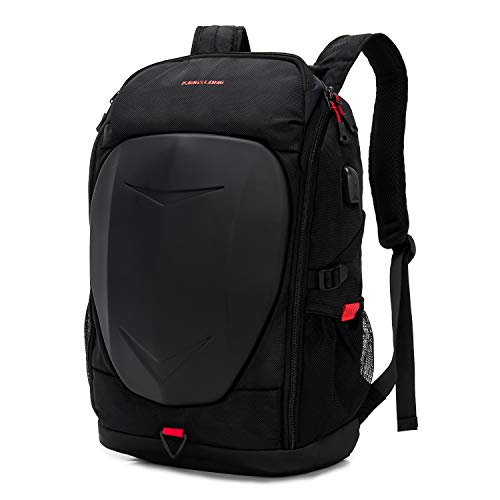 KINGSLONG 15-17 Inch Mens Laptop Backpack with USB Port for Travel Gaming Motorcycle Outdoor Backpacks Waterproof, Black