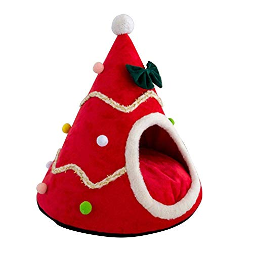 GAOZHEN Tienda de campaña para Gatos con árbol de Navidad, cómoda casa Triangular para Gatos, Nido de árbol Suave para Gatos, con tapete extraíble, Cama cálida para Interiores y Exteriores para Gato