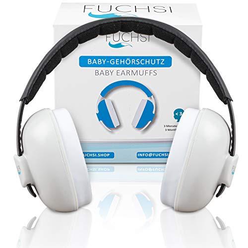 FUCHSI Baby Gehörschutz | Verstellbar | extra weicher Kopfbügel, hoher Tragekomfort, geringes Gewicht | für Kinder ab 3 Monate + | Ohrenschützer für Babys | Ohrschützer Ohrschutz Hörschutz Lärmschutz