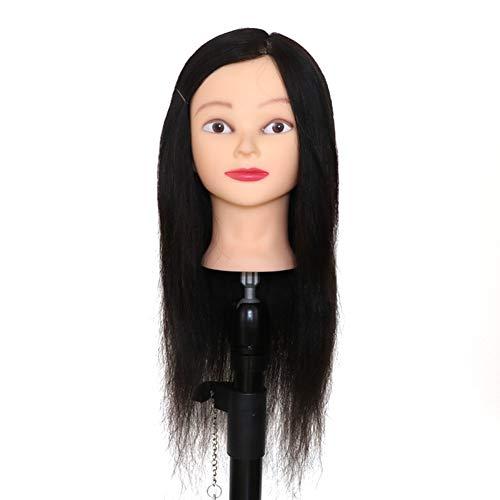 Professionnel véritable cheveux 22 pouces coiffure formation tête mannequin tête coiffeur mannequin tête avec support de serrage,Black,18inches