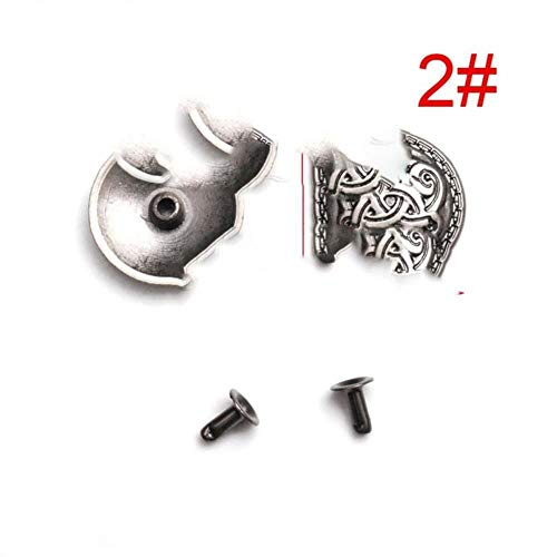 5 sets tinnen punk studs klinknagel spikes rock kledingstuk schoenentas huisdieren kraag diy lederen ambachtelijke onderdelen schild chinese knoop kruis, 2