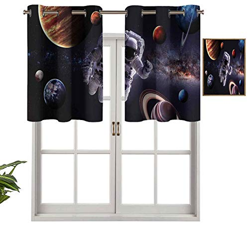 Hiiiman Window Treatments Curtain Tiers Grommet Top Astronaut Between Planets Mars Neptune Jupiter Plasma Ethereal Sphere Picture, Set of 1, 42'x18' Home Decorative Blackout Panels for Kitchen