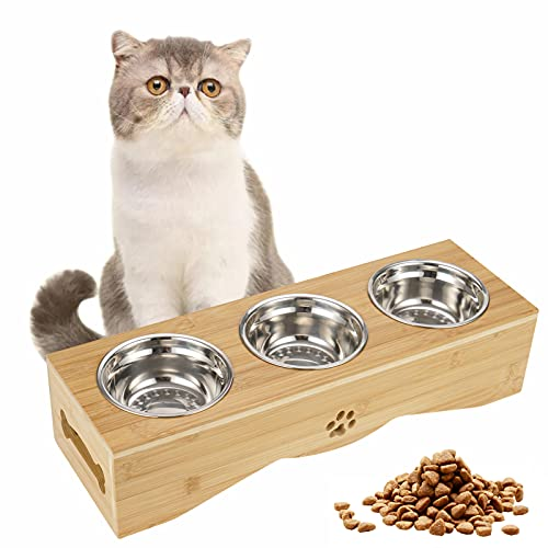 Katzennapf 3er Set, Futternapf Katze 3 Näpfe, Edelstahl Fressnapf auf Ständer, Erhöhte Futternäpfe schützt Halswirbelsäule, Futterstation für Katzen und kleine Hunde