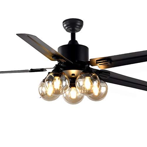 Ventilador de Techo Luces de techo Fan 4 de aspa 5 pantalla de cristal remoto silencioso de los controles de avance y retroceso del viento for el hogar dormitorio, 42 '/ 48' 52' Ventiladores Para el T