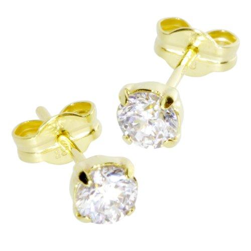 InCollections Damen-Ohrstecker 333/000 Gold mit Zirkonia weiß