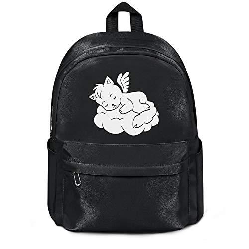 YHTRHGH Cute Sleeping Angel Cat Black Wool School Bag Backpack Girls Unisex Best College Laptop Bag for Teens Girls Students Casual Lightweight Travel Daypack Outdoor