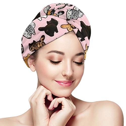 Cartoon Fat Cats Pink Background Hair Towel Wrap Turban Microfiber Quick Dry Drying Bath Shower Head Super Absorbent Towel with Buttons Dry Hair Hat W